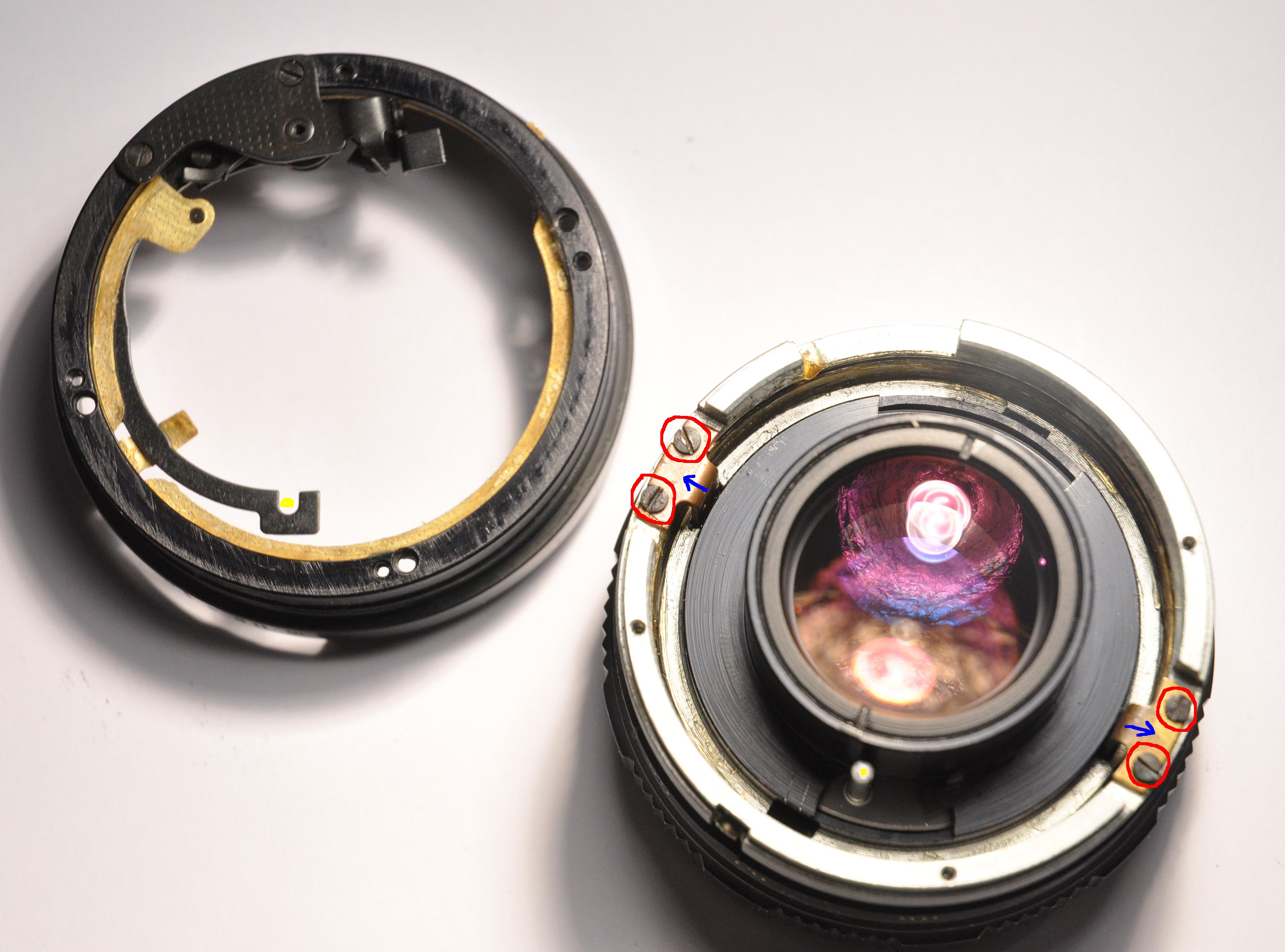 Repair How To Make Helios 44m 6 Usable With N Company Seven Nikon 300mm F2 Ed If Lens Parts Diagram List Request Now Remove Those Very Little Screws Red And Put The Fixing Brass Out Of Barrel Blue